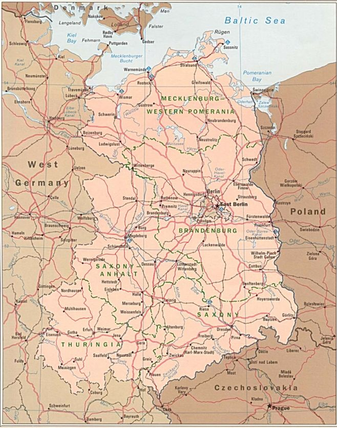 Map of East Germany, East German Cities