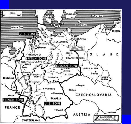 world war 2 map of germany. Germany After World War II